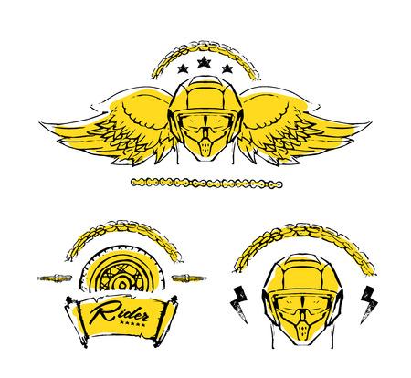 Moto biker theme, icon, logo or sticker set. Cafe racer. Golden, white background. Illusztráció