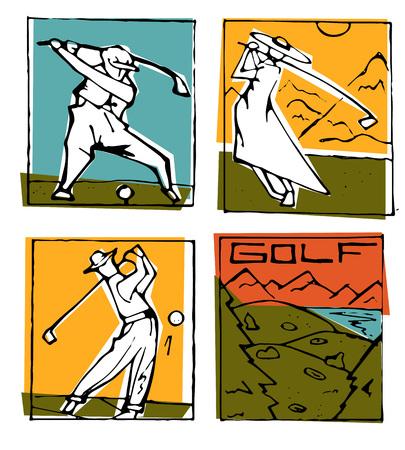 Golf club icons posters illustration set.
