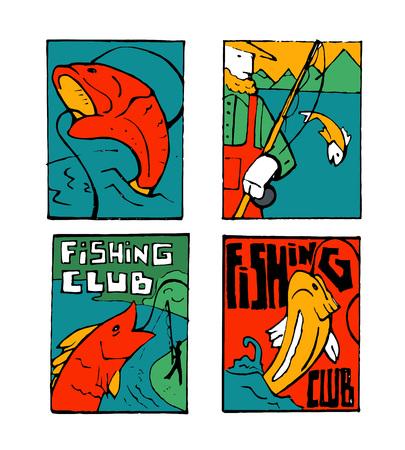 Fishing club poster illustration set. Comic style illustration.