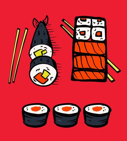 Sushi restaurant icons set. Asian cuisine. Colorful illustration.  イラスト・ベクター素材