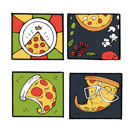 Pizza icons, posters, images set. Colorful illustration. Illustration