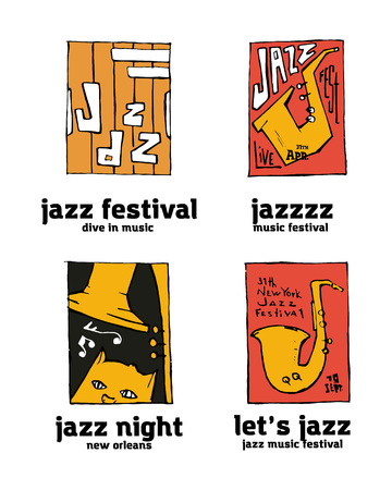 Jazz music festival set, Naive shabby style.