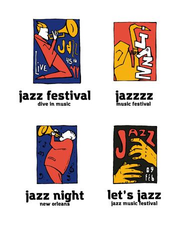 Jazz music festival icon  set. Naive shabby style. 2d vector illustration. Ilustração