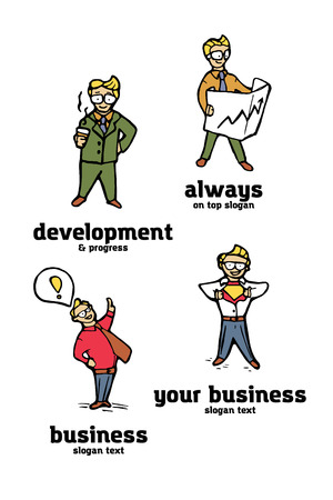 Businessman funny cartoon logo set. Naive style illustration.