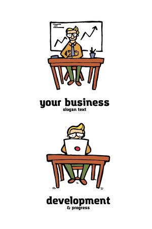 Businessman funny cartoon logo set. Naive style illustration.
