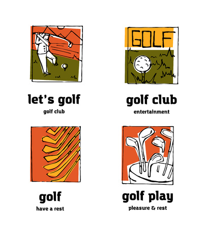 Golf club logo icons set. Sports, recreation, man, woman with golf stick in the park.