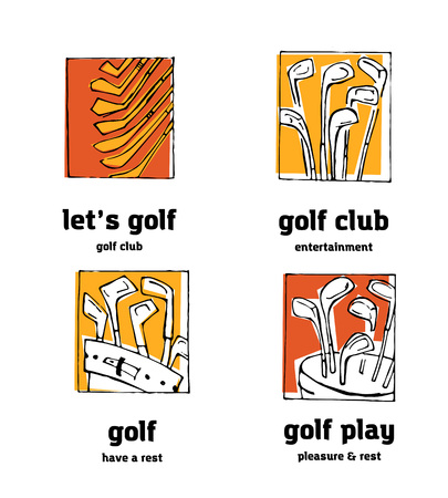 Golf club  icons set. Sports, recreation, man, woman with golf stick in the park.