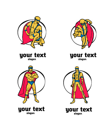 Set of superhero characters logo. Colored illustration in comics cartoon naive style.