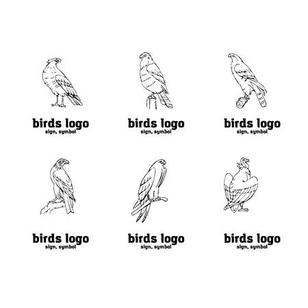 獲物セットの鳥。鳥の刻まれたスタイルのエンブレム。手描きスタイル。リノカット、ステンシルベクターアート。黒と白、最小限。