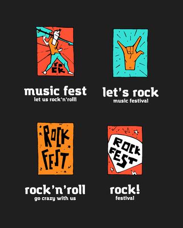 Rock festival logo set. Colorful illustration, 2d art