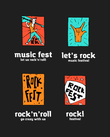 Rock festival logo set. Colorful illustration, 2d art