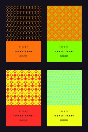 Conjunto de tarjetas de invitación de colores. Guarde la fecha, nombre, apellido