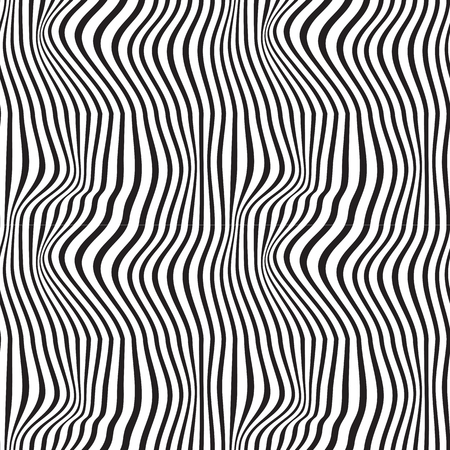 Wavy abstract seamless background pattern. Black and white. Waves Illustration
