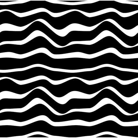 Wavy abstract seamless background pattern. Black and white. Waves Ilustração
