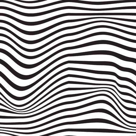 Patrón de líneas de cebra onduladas en blanco y negro