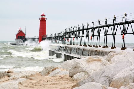 A Michigan pier and lighthouse. photo
