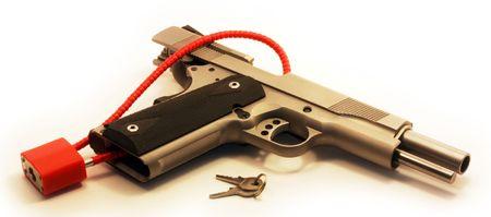 45 ammo: Locked pistol  Stock Photo
