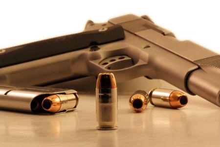 45 ammo: Fortyfive Caliber bullet Stock Photo