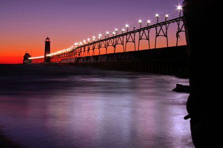 lake michigan: Pier catwalk
