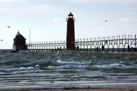 Pier and lighthouse photo