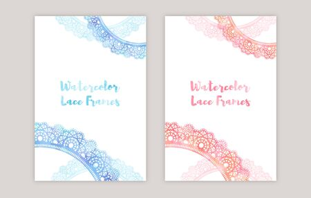 watercolor lace frames  イラスト・ベクター素材