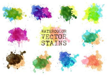 watercolor vector splash stains set