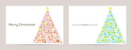 Christmas card for kids: pink blue tree illustration Illusztráció