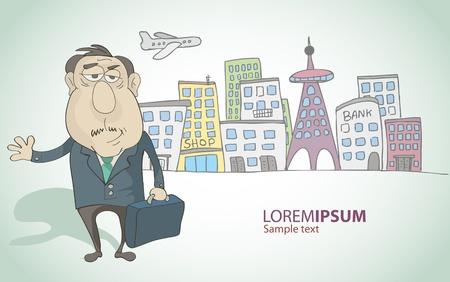 compromiso: hombre rico con una maleta en un fondo de la ciudad