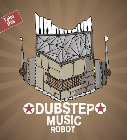 dubstep music robot face  Illustration