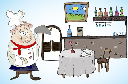 Cook the dish in a restaurant Vector