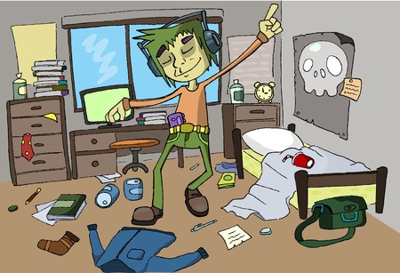 mess in room student Illustration