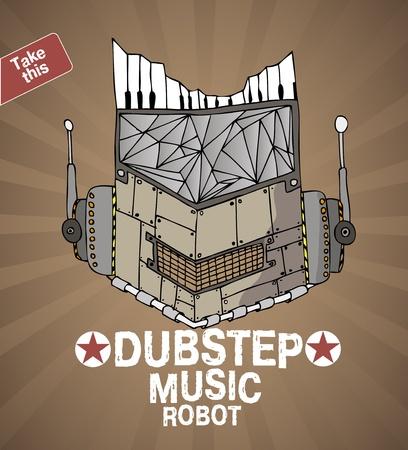 animated alien: dubstep music robot face  Illustration