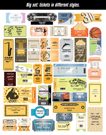 big set  tickets in different styles  Vector