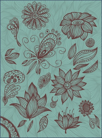 set hand-draw floral elements isolated Illustration