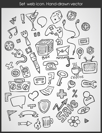 Set web icon  Hand-drawn  Vector