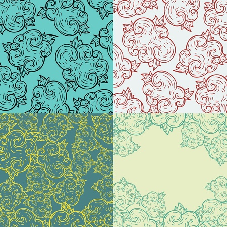 Set of four seamless abstract hand-drawn background  Surface textures  Gorgeous seamless floral background