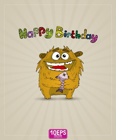 Funny monster whith gift Happy Birthday Vector