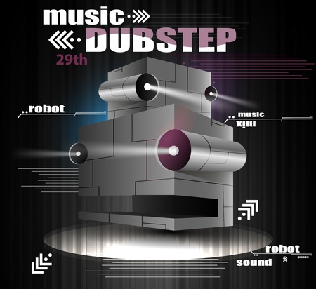 animated alien: robot head whith light, the music dubstep  Illustration