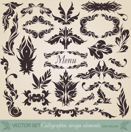 set  calligraphic design elements and page decoration - lots of useful elements to embellish your layout Illustration