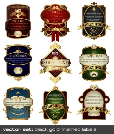 set  different style gold-framed labels
