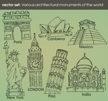 world architectural monuments Vector