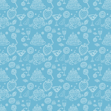 Seamless pattern in food style wallpaper Vector