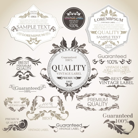 satisfaction guarantee:  set  calligraphic design elements and page decoration, Premium Quality and Satisfaction Guarantee Label collection  Illustration