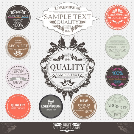 set of Premium Quality and Guarantee Labels in retro and  vintage design Illustration