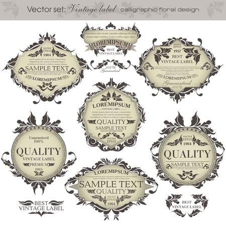 set  vintage labels - inspired by floral retro originals Stock Vector - 14201688