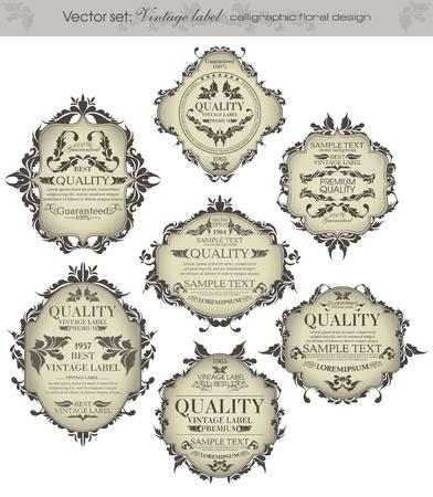 vignette: mis vintage labels - inspir� par floraux originaux r�tro Illustration