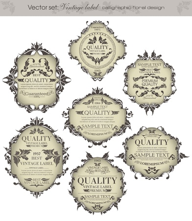 set  vintage labels - inspired by floral retro originals Stock Vector - 14201694