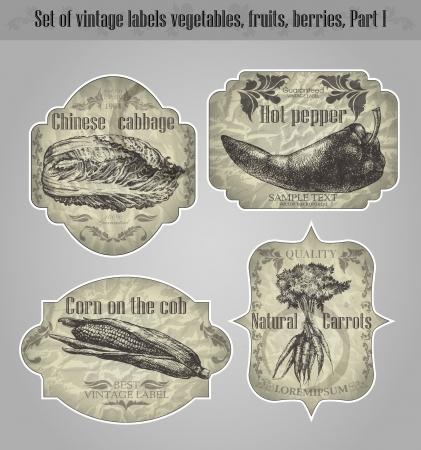 vector set  vintage labels fruits, vegetables, berries - inspired by floral retro originals