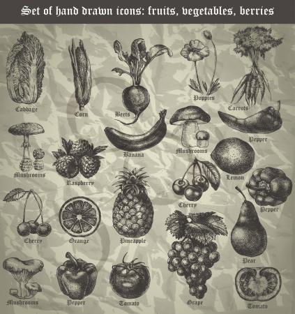 pi�as: fijar el icono de frutas, verduras, bayas para el men� en estilo vintage Vectores