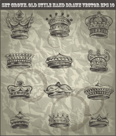 engraved image: set antique crown in old hand drawn style  Illustration